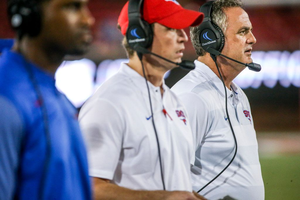 Southern Methodist Mustangs head coach Sonny Dykes looks on along with his coaching staff during the first half of an NCAA football game between Southern Methodist Mustangs and Houston Baptist on Saturday, September 29, 2018 at Ford Stadium in Dallas. (Shaban Athuman/The Dallas Morning News)