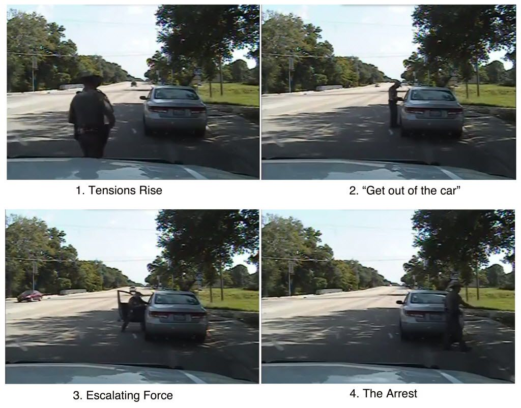 A series of image stills from a dash-cam video released by Texas officials show the stop and arrest of Sandra Bland by Brian Encinia, a Texas state trooper, on July 10, 2015, in Waller County.