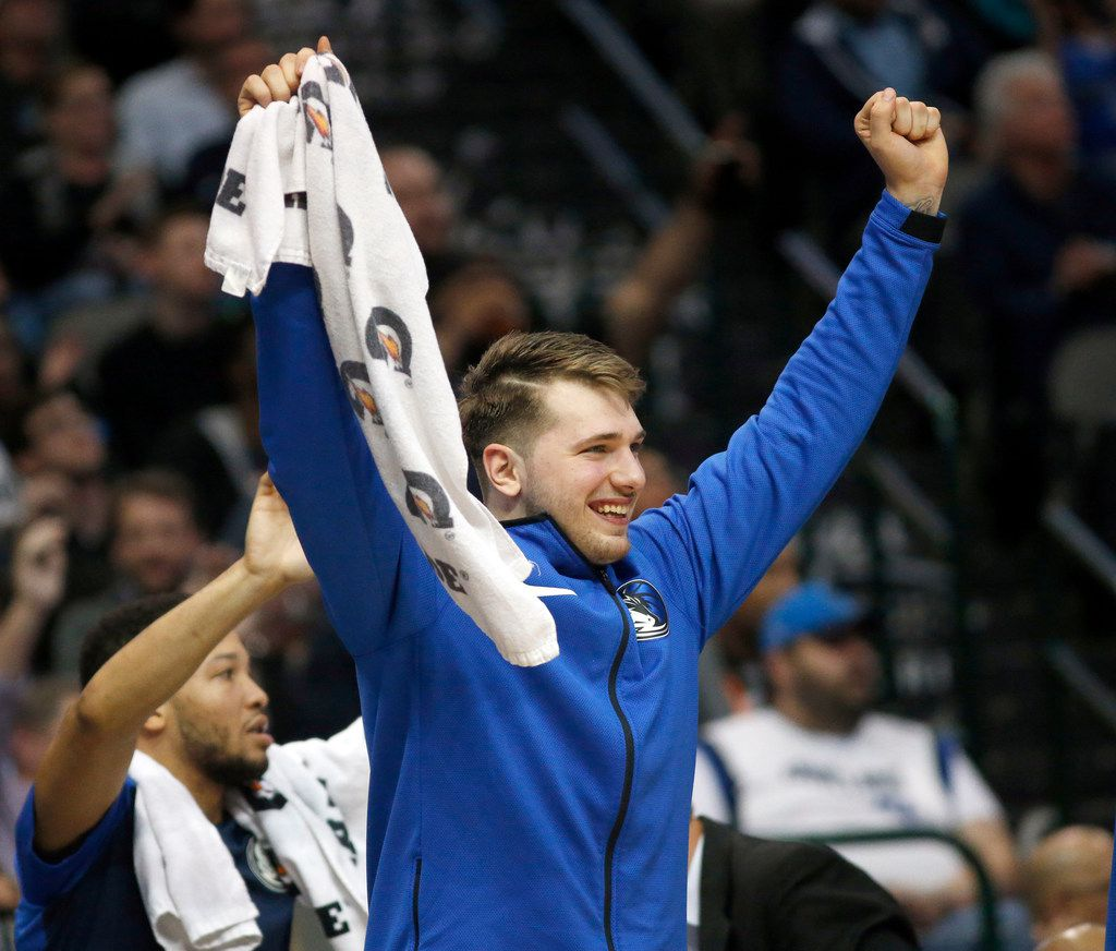 FILE - Dallas Mavericks forward Luka Doncic (77) reacts as his teammates make a big fourth quarter run against the Minnesota Timberwolves at the American Airlines Center in Dallas, Wednesday, April 3, 2019. (Tom Fox/The Dallas Morning News)