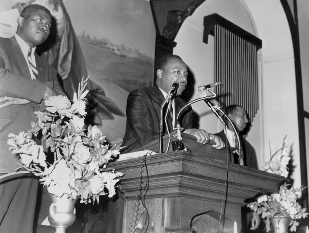 In a photo taken March 27, 1968, Martin Luther King Jr. prepares to preach at a Paterson, N.J., church.