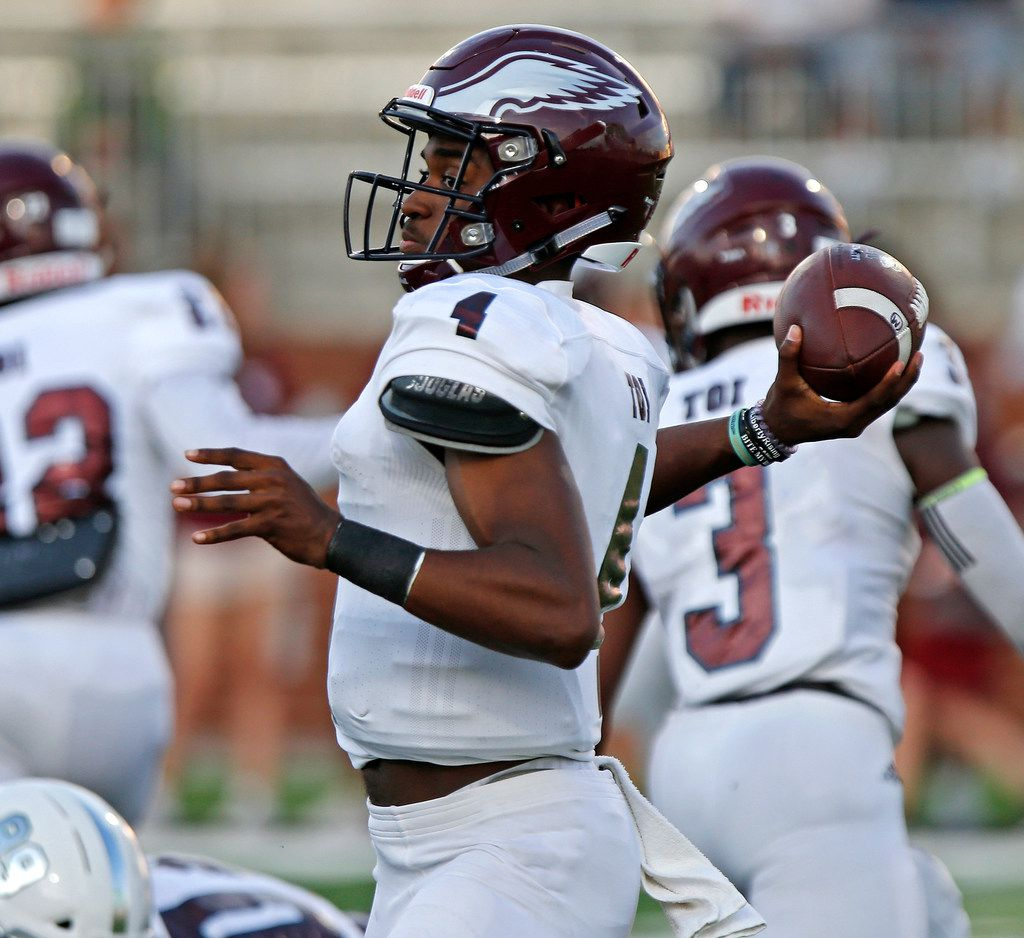 Rowlett High School quarterbacked Alex Routt (4) throws a pass during the first half as Prosper High School hosted Rowlett High School in a non-district football game at Children's Health Stadium in Prosper on Friday, August 30, 2019. (Stewart F. House/Special Contributor)
