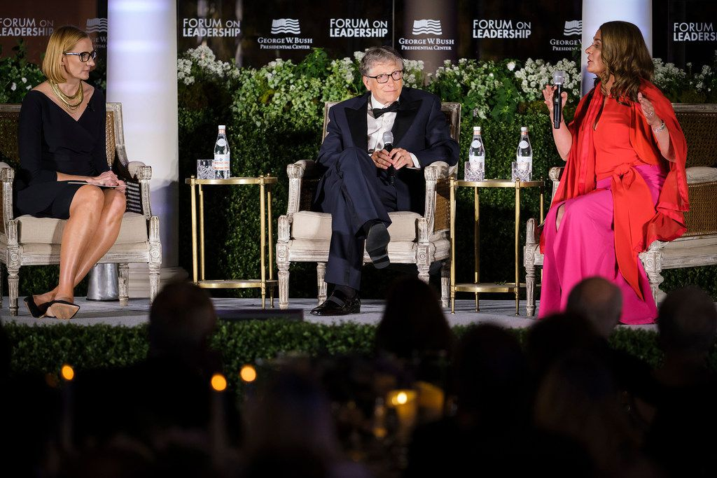 Bill and Melinda Gates participate in a conversation with moderator Holly Kuzmich (left) during the George, W. Bush Presidential CenterÕs 2019 Forum on Leadership Gala at the Rosewood Mansion on Turtle Creek on Thursday, April 11, 2019, in Dallas. (Smiley N. Pool/The Dallas Morning News)