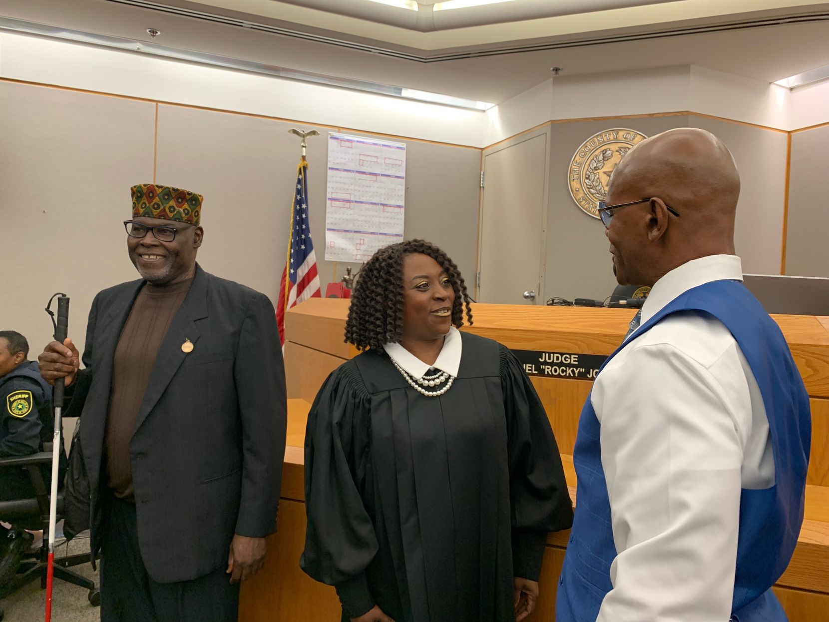 """Stanley Mozee (left) and Dennis Allen (right) were declared """"actually innocent"""" Friday by state District Judge Raquel """"Rocky"""" Jones in the 1999 murder of the Rev. Jesse Borns Jr. Prosecutors withheld evidence that could have helped them at trial and DNA evidence excludes them as the killers. Law enforcement is searching for the true killers, who murdered Borns in his South Dallas woodworking shop by stabbing him 47 times."""