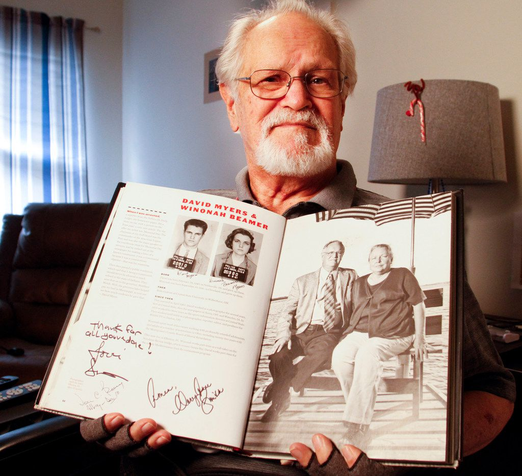 David Myers holds a copy of Breach of Peace by Eric Etheridge in his room at Mustang Creek Estates in Frisco, Texas, on Feb. 7, 2019. Myers participated in  the Freedom Rides in 1961,  when African American and white students, activists and religious leaders took buses and trains into the Deep South to try to force communities to integrate bus and train terminals.