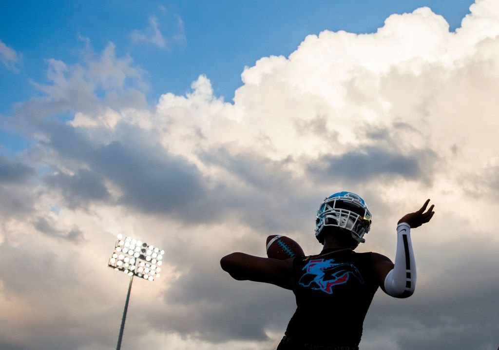A Skyline football player warms up before a high school football game between Skyline and Duncanville on Friday, October 4, 2019 at Panther Stadium in Duncanville. (Ashley Landis/The Dallas Morning News)