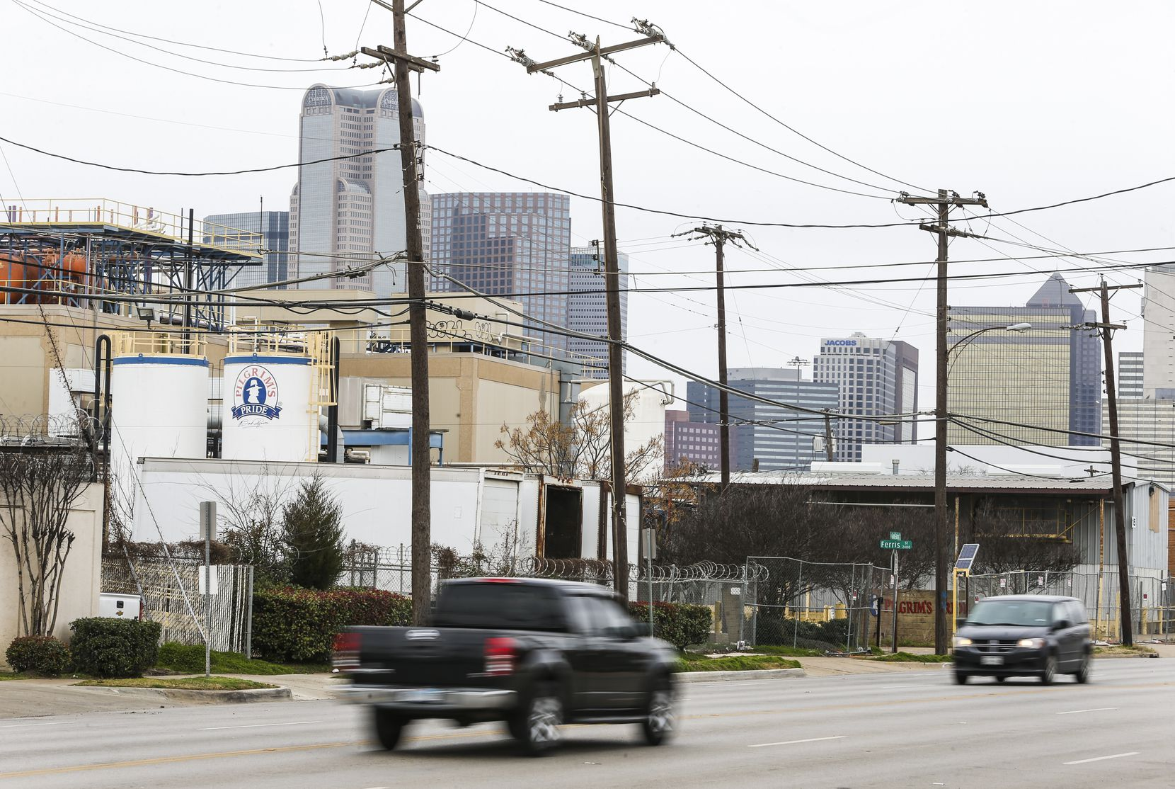 The vacant Pilgrim's Pride plant (left) is seen from the 2400 block of South Good Latimer Expressway just south of downtown Dallas on Wednesday, Jan. 30, 2019.
