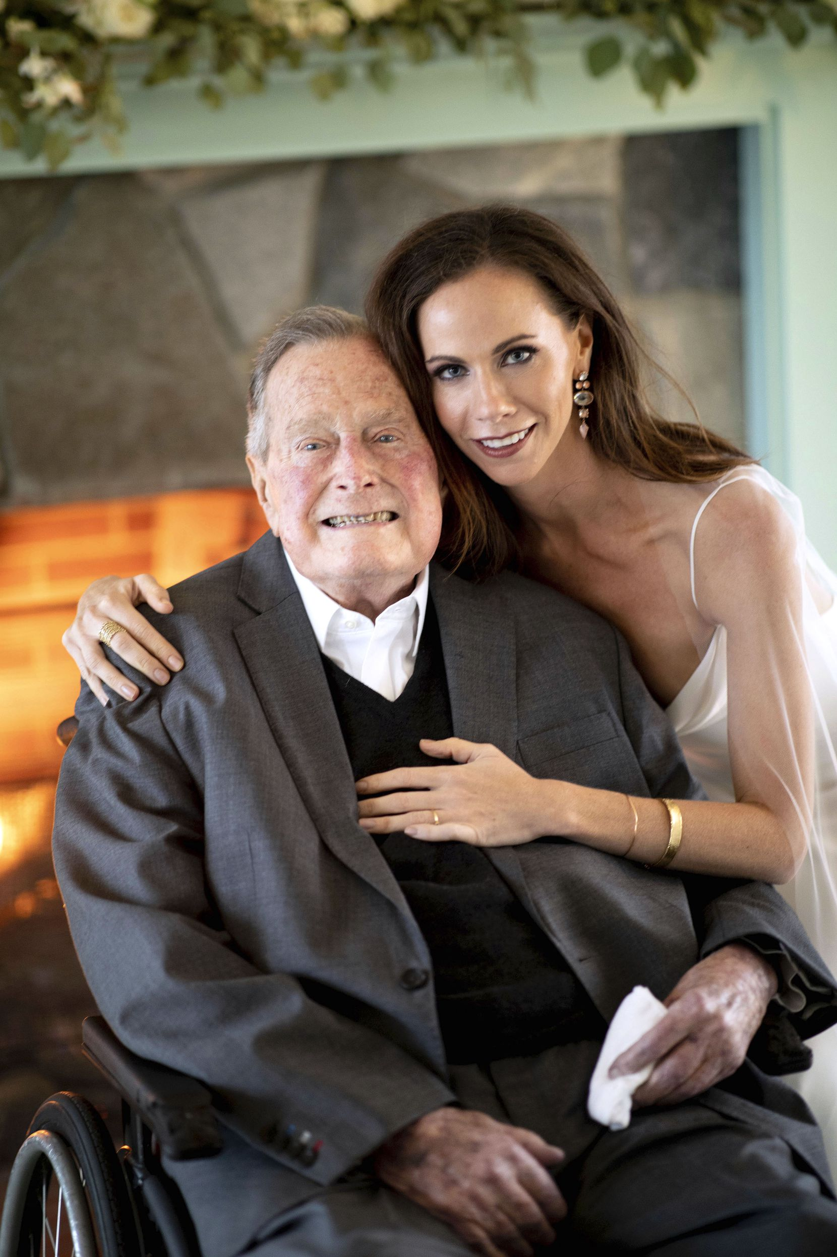 2018: Barbara Bush and her grandfather, former President George H. W. Bush, on Barbara's wedding day. She married Craig Coyne in Kennebunkport, Maine, on Sunday, Oct. 7, 2018.
