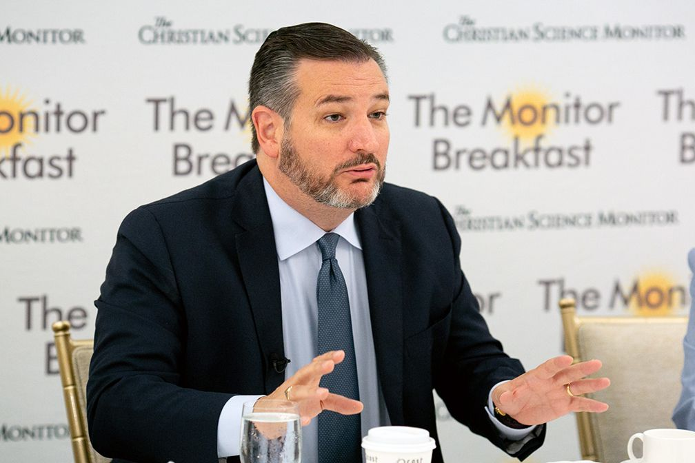 """Texas Sen. Ted Cruz, speaking at a breakfast hosted by The Christian Science monitor, said that """"Texas is a battleground"""" in the 2020 elections."""