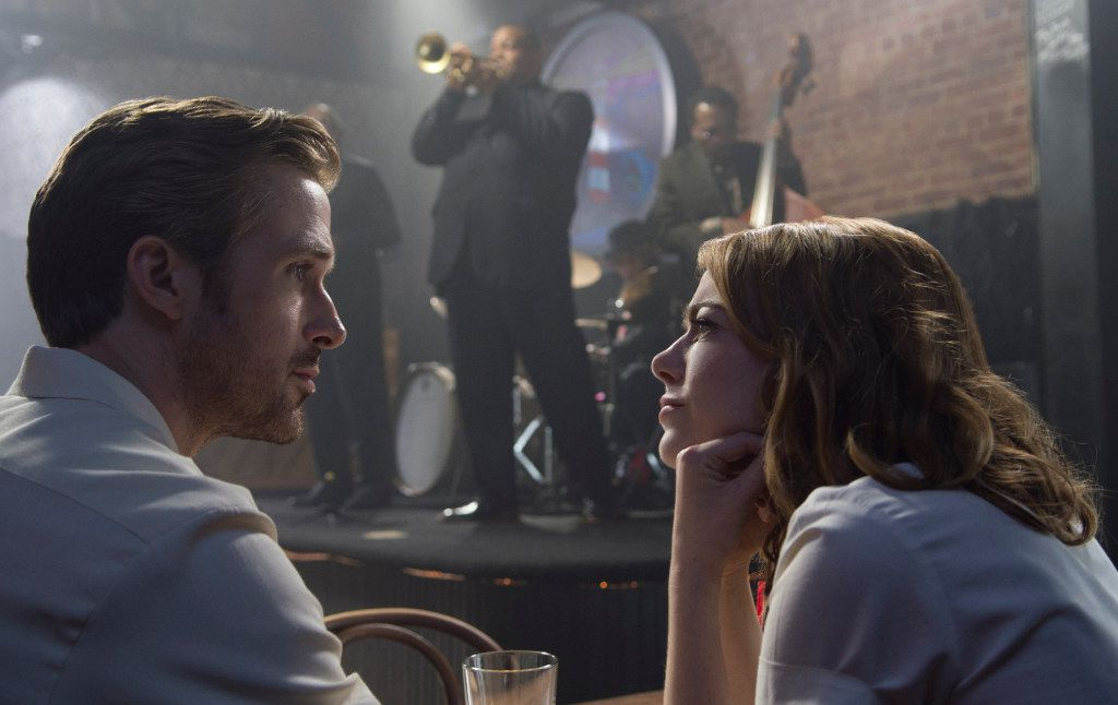 Ryan Gosling portrays a musician and and Emma Stone plays an actress in La La Land.