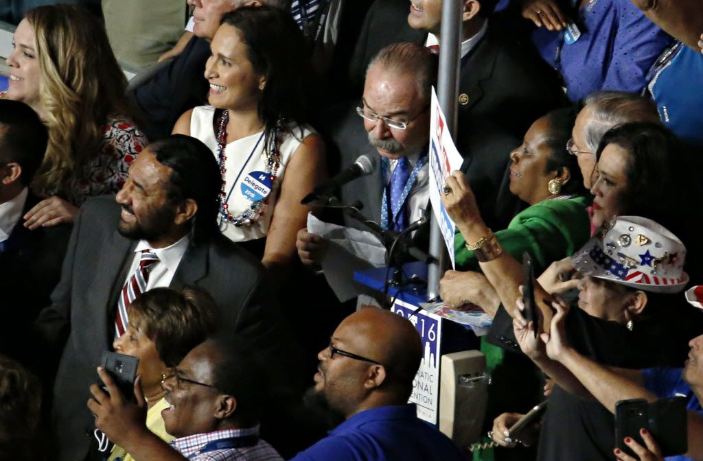 Gilberto Hinojosa, party chairman for the Texas delegation, reads the state's vote during roll call at the Democratic National Convention shot Tuesday, July 26, 2016 in Philadelphia, Pa. (G.J. McCarthy/The Dallas Morning News)