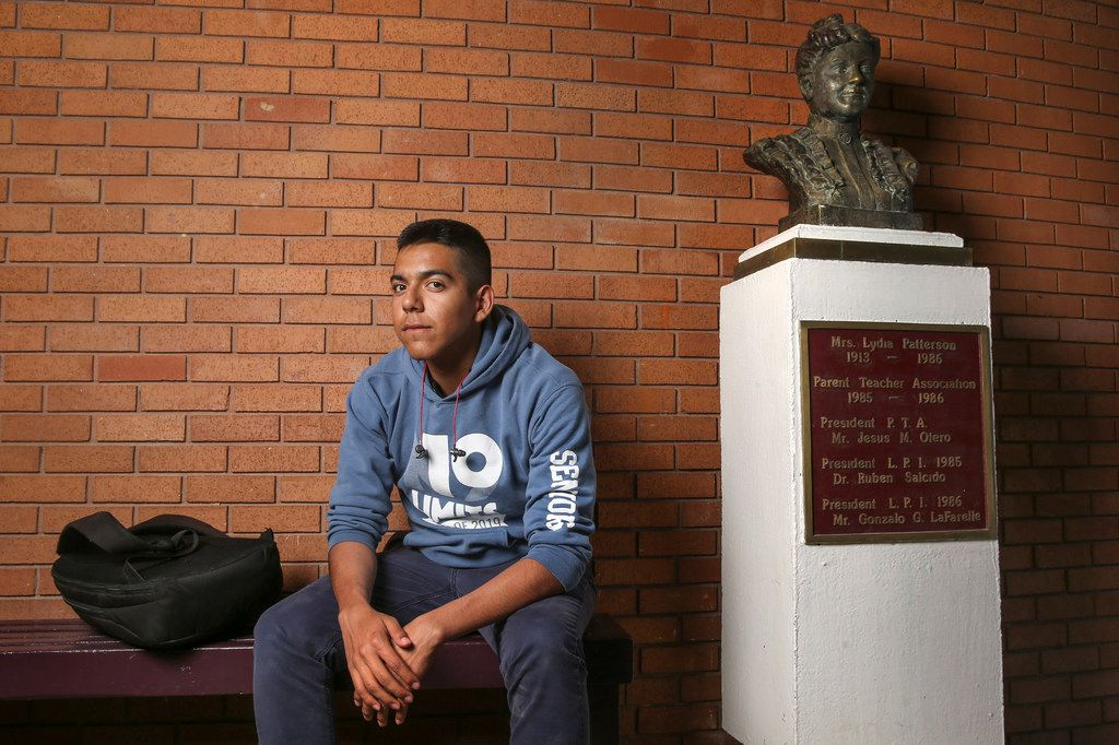 """Pablo Gomez Gallegos, 17, of Ciudad Juarez, Mexico, is a student at Lydia Patterson Institute in El Paso. """"This is such a special place,"""" said Pablo, who is in 12th grade at the private Christian school in El Paso's Segundo Barrio. """"It's not all about the classroom; experiences like being on the baseball team are very important to me, too."""" Gallegos estimated that around 13 of the 15 players on the Lydia Patterson Institute baseball team live in Ciudad Juarez, Mexico."""