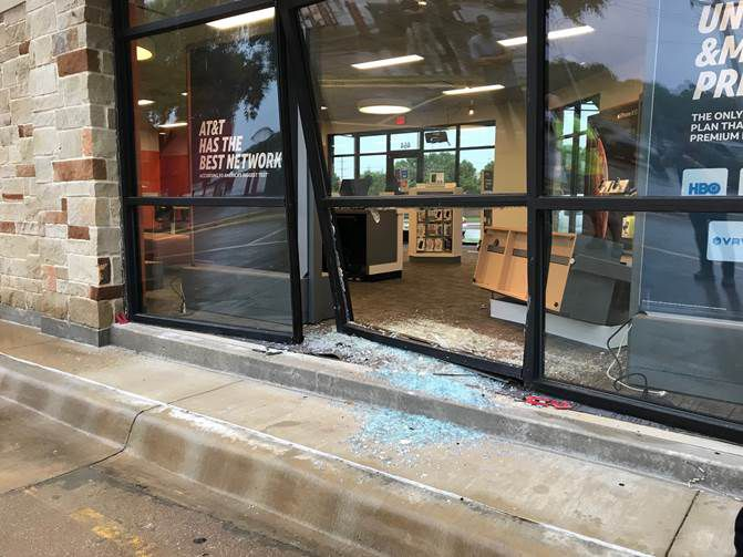 Trisha Boner fled again and crashed into an AT&T store in the 400 block of Grapevine Highway in Hurst, police said.