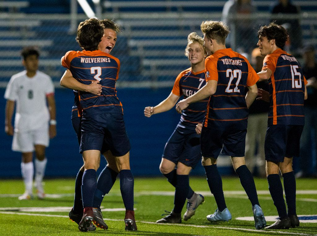 Frisco Wakeland forward Alex Wing (3) celebrates scoring a goal during the first half of a UIL conference 5A boys state semifinal soccer game between Frisco Wakeland High School and Houston Sharpstown High School on Thursday, April 18, 2019 at Birkelbach Field in Georgetown, Texas. (Ashley Landis/The Dallas Morning News)