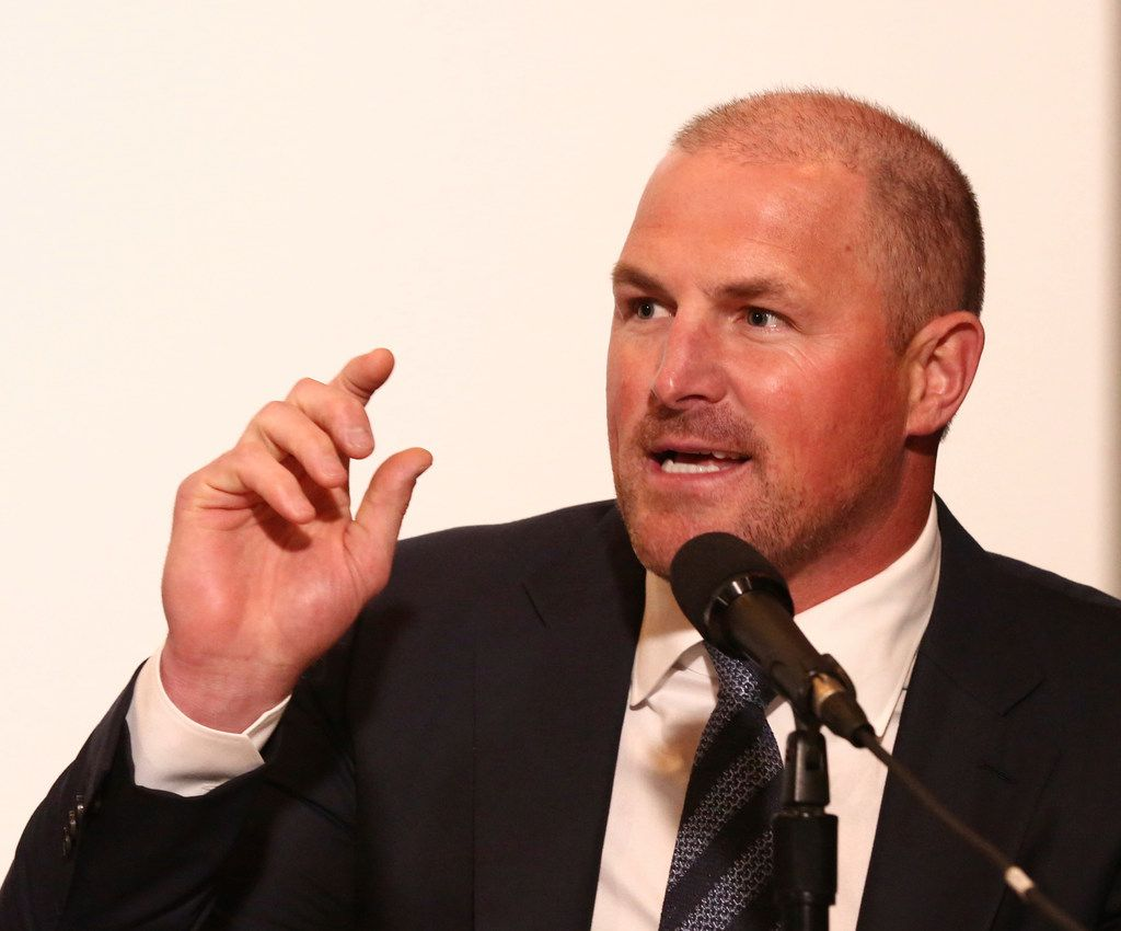 Dallas Cowboys All-Pro tight end Jason Witten answers a question before being inducted into the Texas Sports Hall of Fame, Saturday, March 30, 2019, in Waco, Texas. (Rod Aydelotte/Waco Tribune Herald via AP)