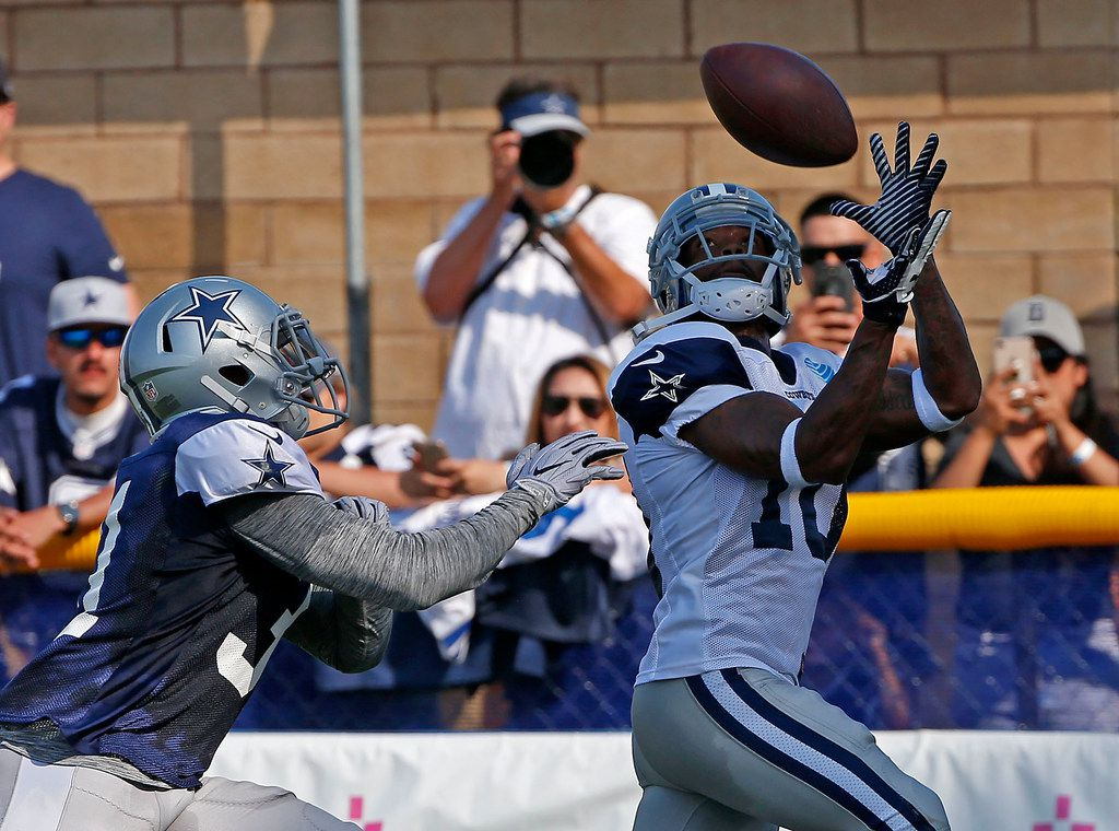 Dallas Cowboys wide receiver Tavon Austin (10) pulls in a pass over cornerback Byron Jones in the end zone during the afternoon practice at the training camp in Oxnard, Calif., Wednesday, Aug. 1, 2018. (Jae S. Lee/The Dallas Morning News)