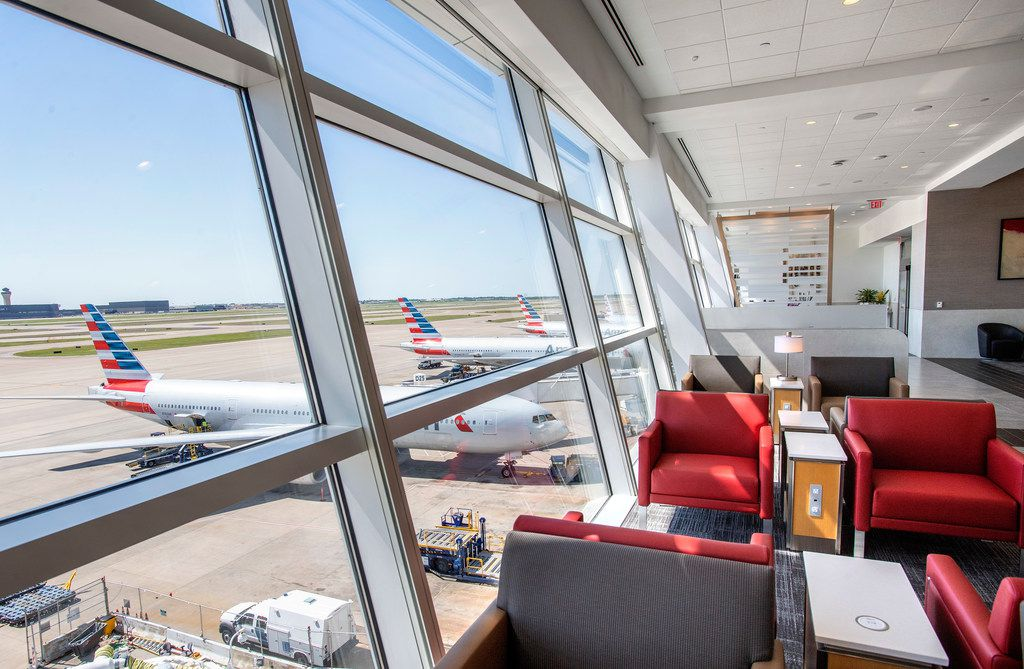 Seating along a 500-foot-long wall of windows offers panoramic views of the tarmac in the new American Airlines Flagship Lounge on Monday, May 13, 2019 in Terminal D at DFW Airport in Grapevine, Texas.
