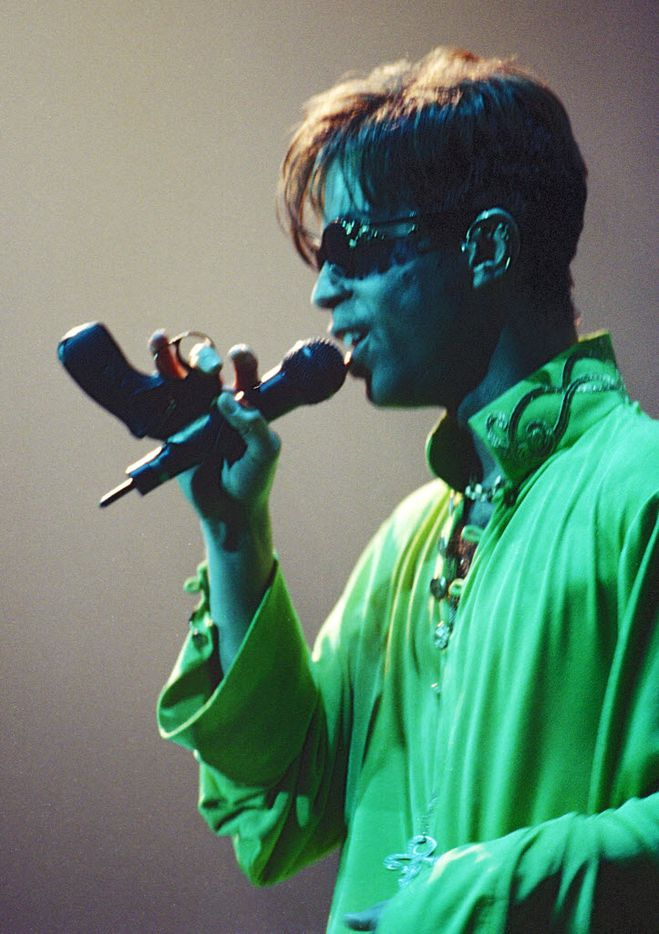 Prince played Starplex on August 9, 1997. (Evans Caglage/The Dallas Morning News)