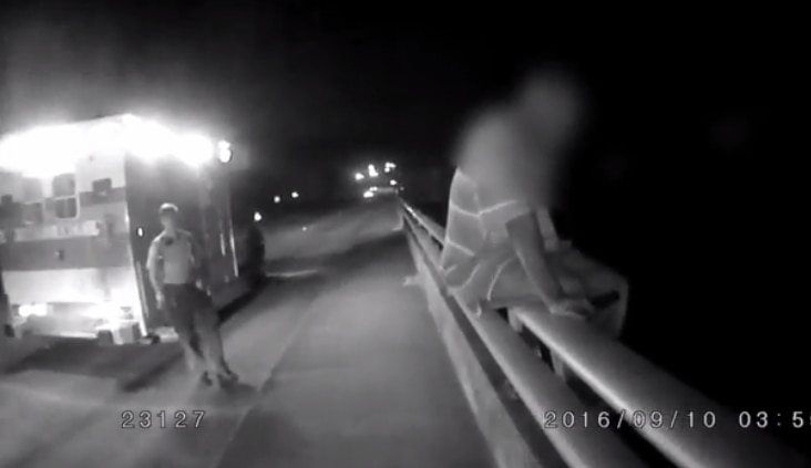 Screencap of the officer's body cam footage