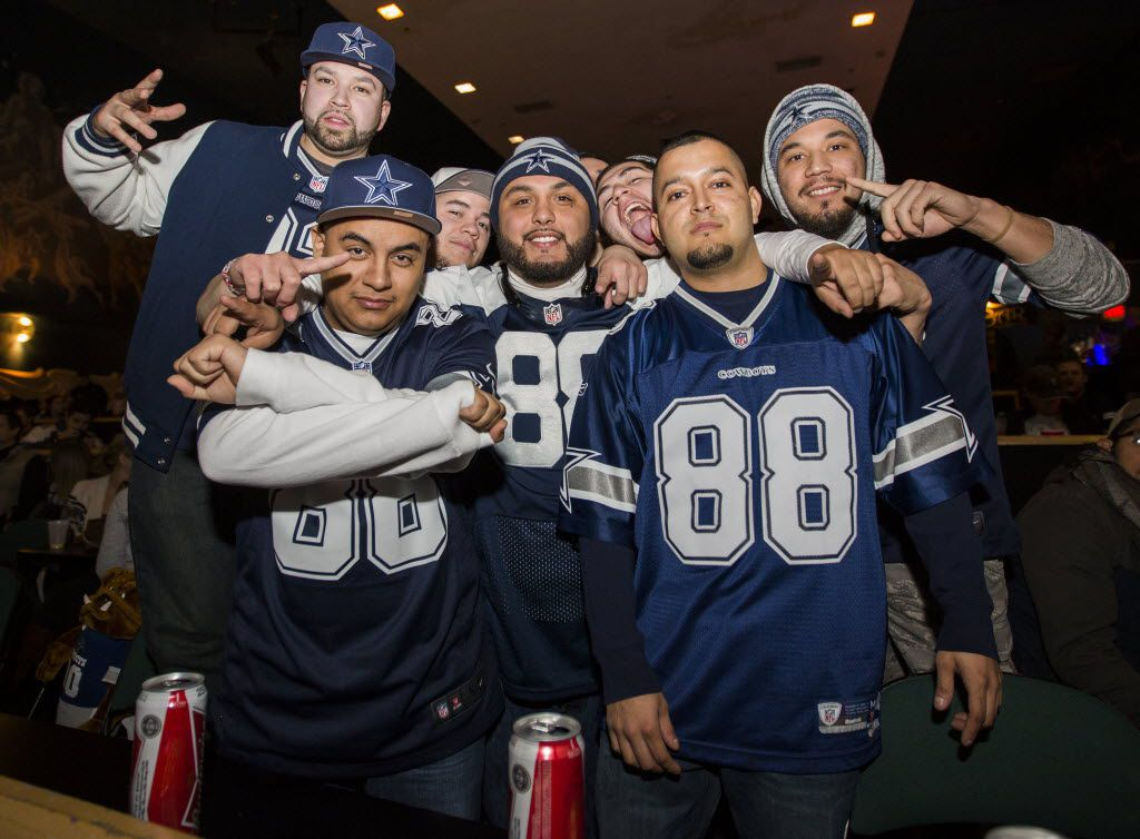 Fans pose while watching the Dallas Cowboys v. Green Bay Packers football game on Sunday, January 11, 2015 at the Granada Theater in Dallas, Texas.   (Ashley Landis/The Dallas Morning News)