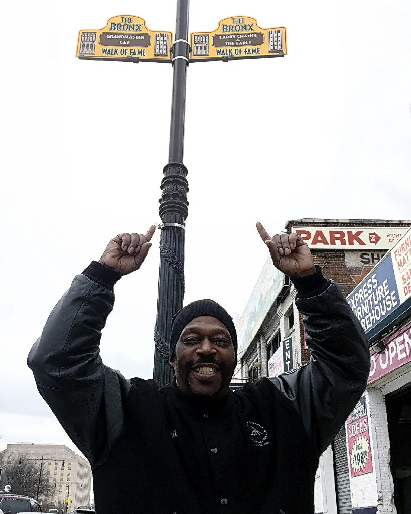 A sign on the Bronx Walk of Fame honors Grandmaster Caz.