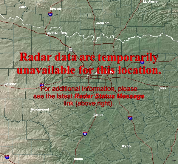 The doppler radar for the National Weather Service office in Fort Worth will be out of service this week for required maintenance.