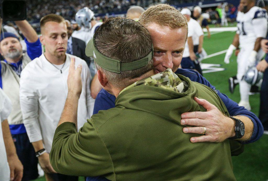Dallas Cowboys head coach Jason Garrett embraces New Orleans Saints head coach Sean Payton following the Dallas Cowboys 13-10 win over the New Orleans Saints on Thursday, Nov. 29, 2018 at AT&T Stadium in Arlington, Texas. (Ryan Michalesko/The Dallas Morning News)