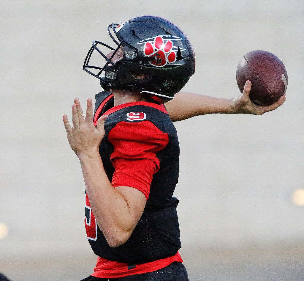 Colleyville Heritage High School quarterback AJ Smith (9) launches a deep pass attempt during the first half as Colleyville Heritage High School hosted Lovejoy High School as part of the Tom Landry Classic at Eagle Stadium in Allen on Saturday, August 31, 2019. (Stewart F. House/Special Contributor)
