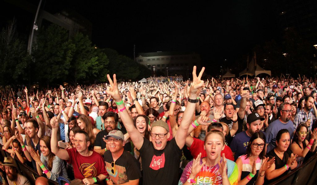 The crowd cheers as Tripping Daisy performs during Homegrown Music & Arts Festival in Dallas, TX, on May 13, 2017. (Jason Janik/Special Contributor)