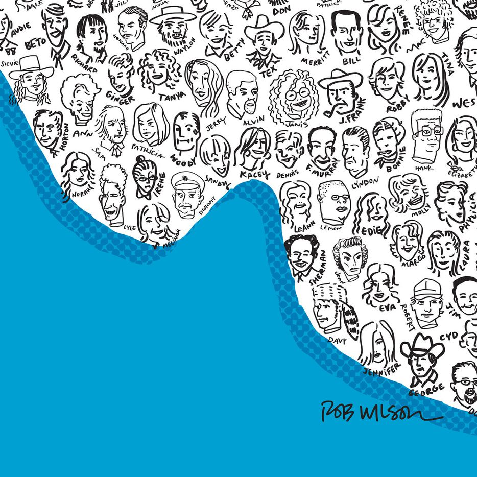 """Dallas illustrator and artist Rob Wilson created the """"Texas Heads of State"""" illustration with 135 noteworthy Texans."""