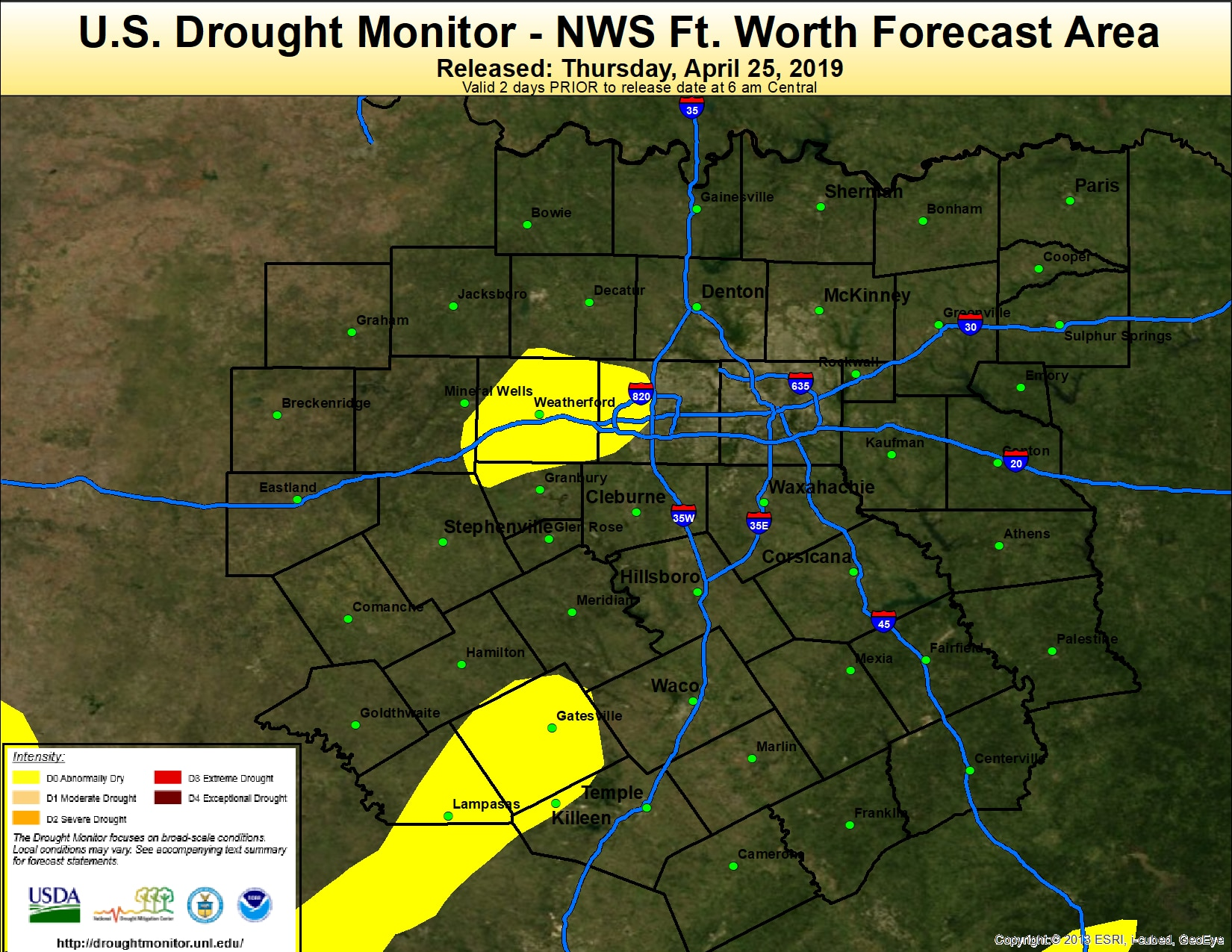 Portions of Tarrant County are abnormally dry on the U.S. Drought Monitor issued April 25, 2019.