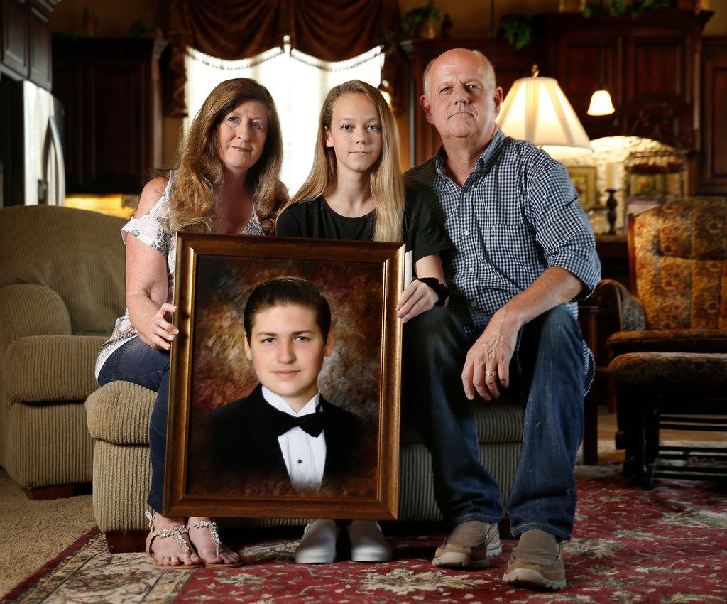 Cathy and Mark Speed lost their 18-year-old son, Braden, to suicide in October and, with the start of the new school year, they want to share a message about tragedies such as theirs -- one that people too often will talk about in the aftermath but then seldom take action to prevent. They are pictured with their daughter, Caitlin, 12, at their Prosper home.