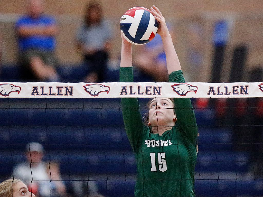 Prosper High School outside hitter Nikki Steinheiser (15) blocks the ball during game one as Allen High School hosted Prosper High School in a District 9-6A volleyball match in Allen on Tuesday, October 1, 2019. (Stewart F. House/Special Contributor)