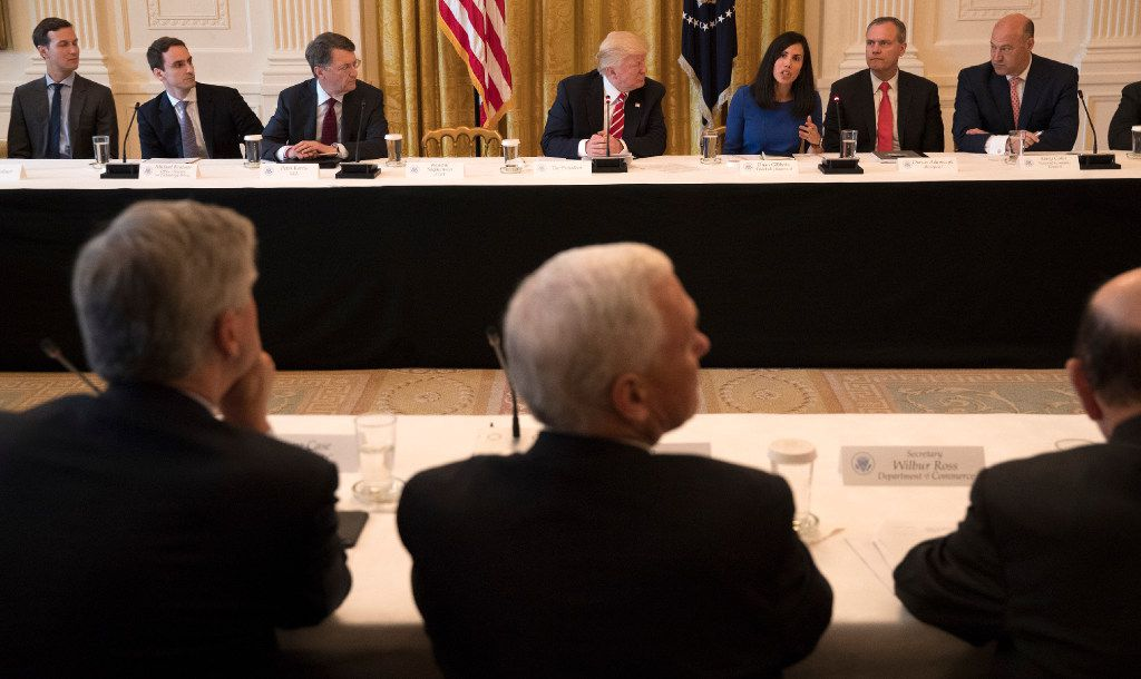 President Donald Trump took part in a discussion Thursday during the American Leadership in Emerging Technology event at the White House in Washington, June 22, 2017. From left are Jared Kushner; Michael Kratsios of the Office of Science and Technology; Peter Barris of New Enterprise Associates; Trump; Dyan Gibbens of Trumbull Unmanned; Darius Adamczyk of Honeywell; and Gary Cohn of the National Economic Council.