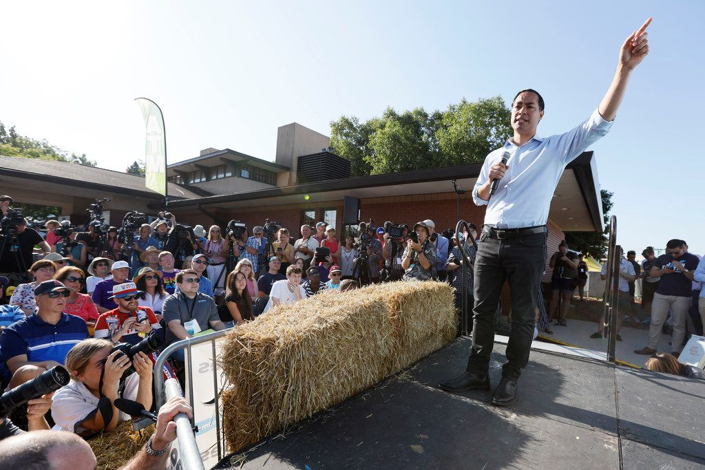 Former HUD secretary Julian Castro, Democratic candidate for president, spoke Friday during his visit to the Iowa State Fair in Des Moines.