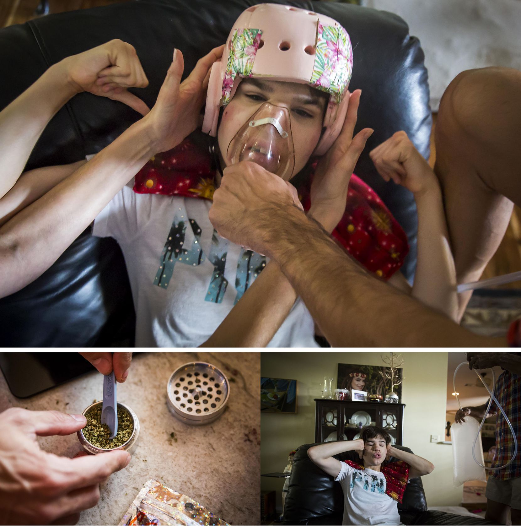 Kara Zartler punches herself in the head with both fists as her father Mark places a medical mask over her nose and mouth and fills it with marijuana vapor in an effort to control her fit of self-abuse on March 18 in Richardson. (Smiley N. Pool/The Dallas Morning News)