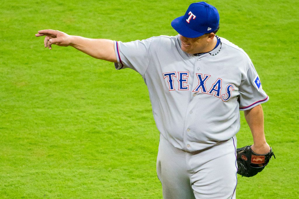Texas Rangers starting pitcher Bartolo Colon leaves the game after carrying a perfect game into the eighth inning against the Houston Astros at Minute Maid Park on Sunday, April 15, 2018, in Houston. (Smiley N. Pool/The Dallas Morning News)