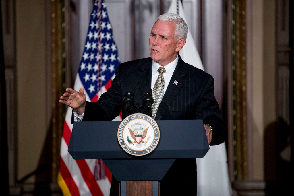 Vice President Mike Pence speaks at a reception for the Organization of American States in the Indian Treaty Room at the Eisenhower Executive Office Building on the White House complex in Washington, Monday, June 4, 2018, as the Trump administration renewed its call Monday for the Organization of American States to suspend Venezuela and for other members to step up pressure on the country's government to restore constitutional order. (AP Photo/Andrew Harnik)