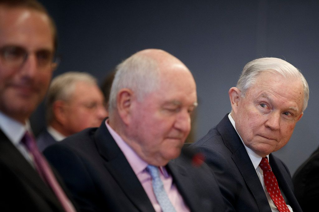 Attorney General Jeff Sessions, far right, during a meeting at the Federal Emergency Management Agency headquarters in Washington, June 6, 2018. Sessions, whose tenure as the nation's top law enforcement official has been broadly defined by his pursuit of immigration restrictions, remains deeply opposed to the policy known as Deferred Action for Childhood Arrivals.