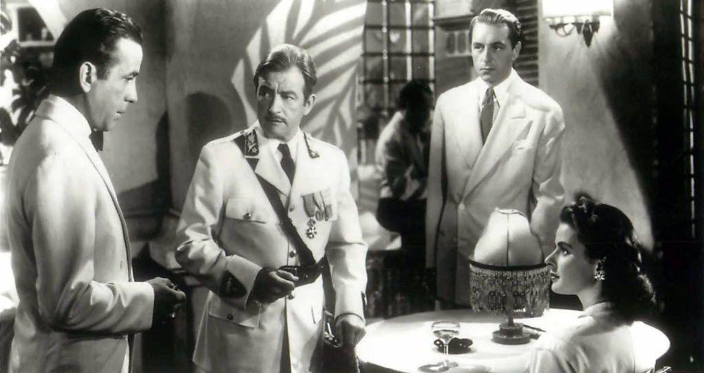 Humphrey Bogart, Claude Rains, Paul Henreid  and Ingrid Bergman in Casablanca.