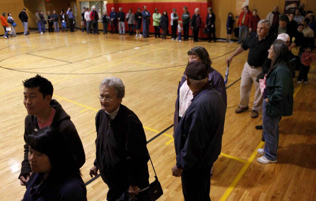 Collin County voters wait to vote in a line which stretched through the lobby and three quarters of the way around a gym for as long as 90 minutes at Christ United Methodist Church in Plano on Nov. 2, 2010.