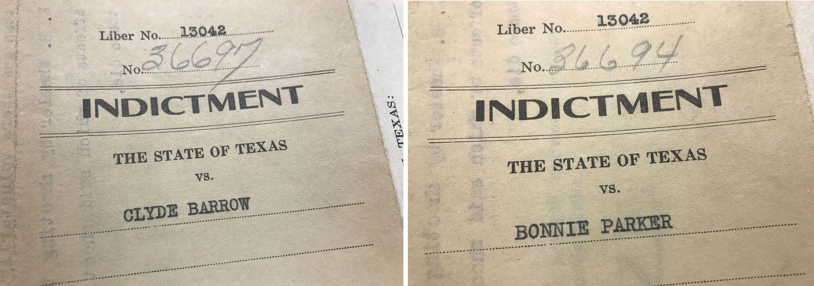 Pages from the original indictments of Bonnie and Clyde for murdering two lawmen in Grapevine in the 1930s, which were recently found by a Tarrant County clerk as she was scanning in old documents.