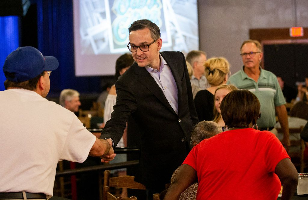 Scott Griggs, Dallas mayoral candidate, greeted supporters at his election-night watch party at Longhorn Ballroom in Dallas on Saturday, June 8, 2019.