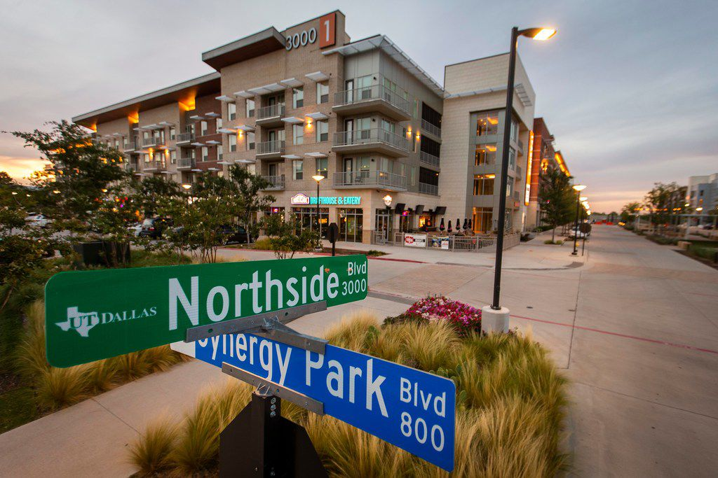 """The Northside mixed use development on Synergy Park Boulevard in Richardson. DART has often referred to mixed-use developments like Northside as """"transit-oriented"""", but the Cotton Belt line, which will be just to the north of these buildings, won't supply trains until 2022. UTD student  resident growth is driving the development, which is currently served by a DART bus line."""