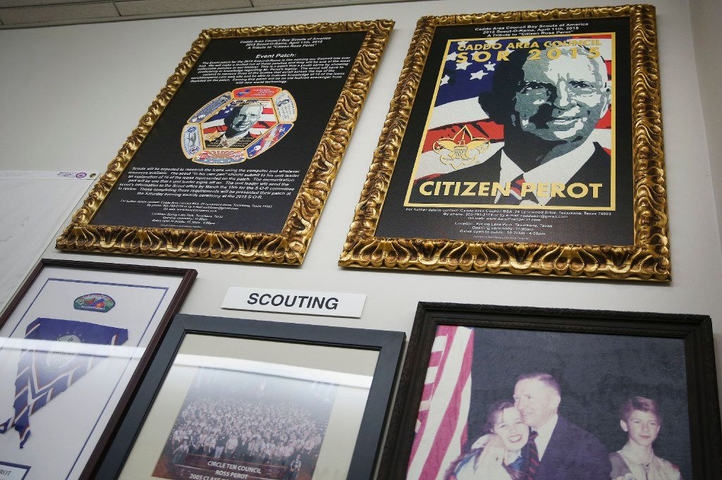 A collection of recognitions for Ross Perot by the Boy Scouts are among the personal artifacts of Perot Sr. at The Perot Group headquarters in Plano, Texas Friday October 14, 2016. The Perot Group is in the process of moving its headquarters. (Andy Jacobsohn/The Dallas Morning News)
