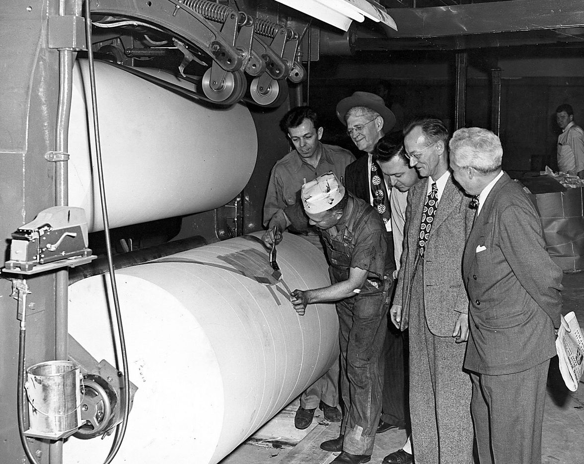 Commencement of production on three of the 16 Hoe High Speed Unit Type of Presses at midnight Nov. 17-18, 1948 in the new building of The Dallas Morning News.