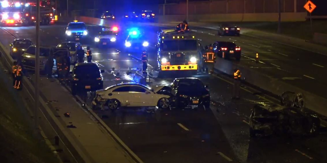 Cars are strewn over the Dallas North Tollway after at least five of them were involved in an accident Wednesday night.