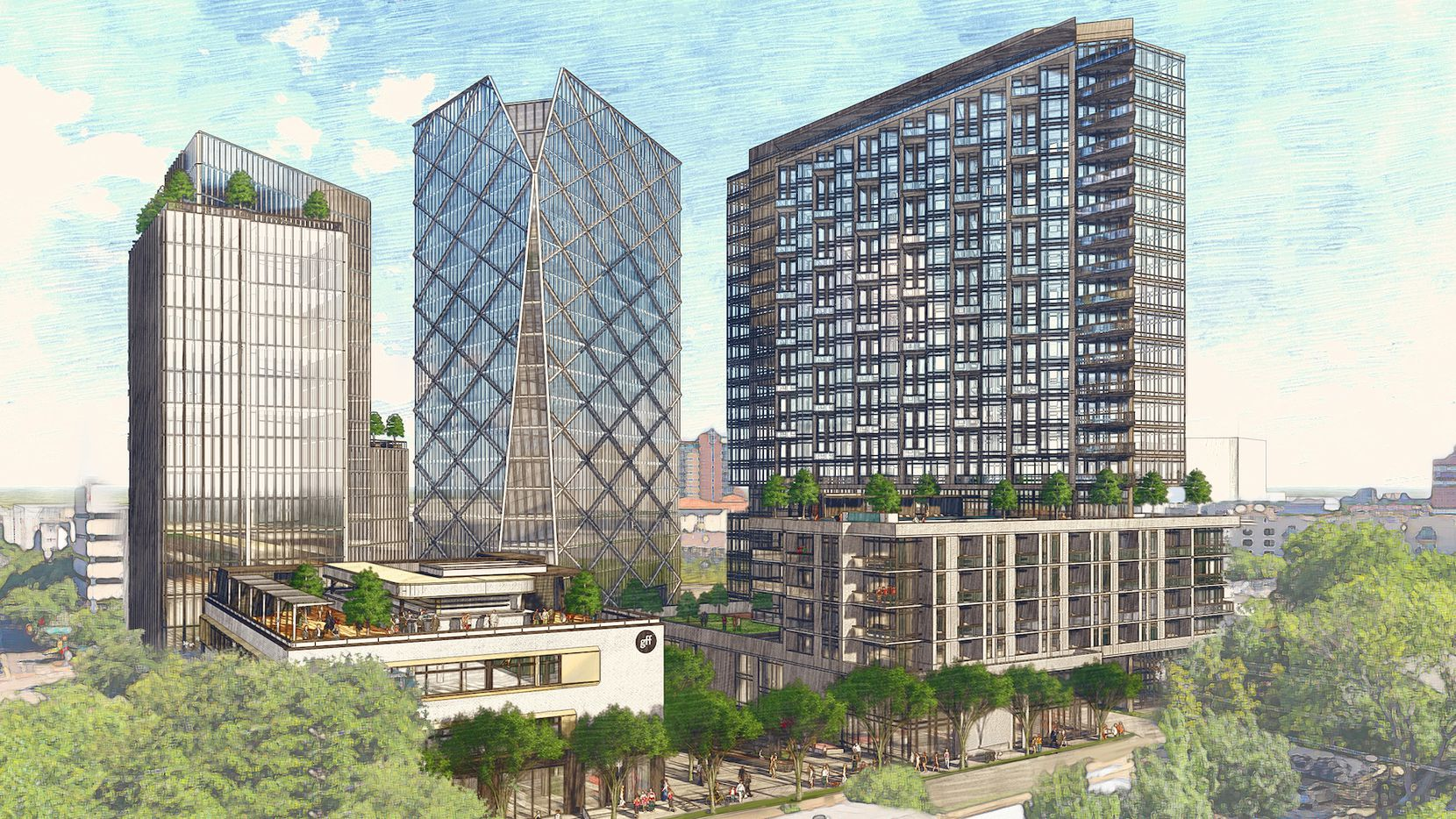 Ryan Cos.' planned Uptown Dallas project will include (from left to right) a hotel, offices and residential towers.
