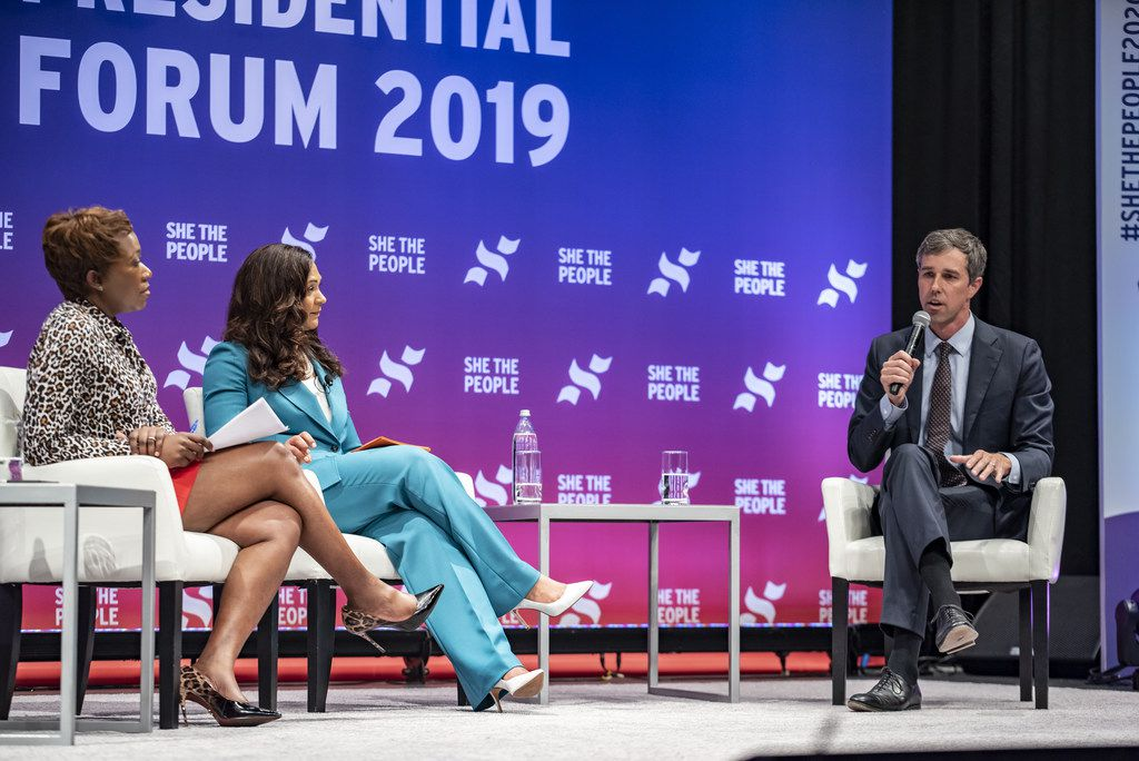 HOUSTON, TX - APRIL 24: Democratic presidential candidate former Rep. Beto ORourke (D-TX) speaks to a crowd at the She The People Presidential Forum at Texas Southern University on April 24, 2019 in Houston, Texas. Many of the Democrat presidential candidates are attending the forum to focus on issues important to women of color. (Photo by Sergio Flores/Getty Images)