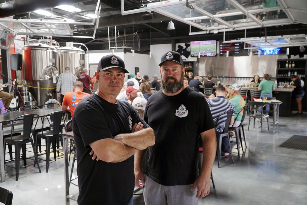 Owners James Brown and Aaron Bennett at Soul Fire Brewing Co. have been partners in crime since high school. Now they're partners in business.