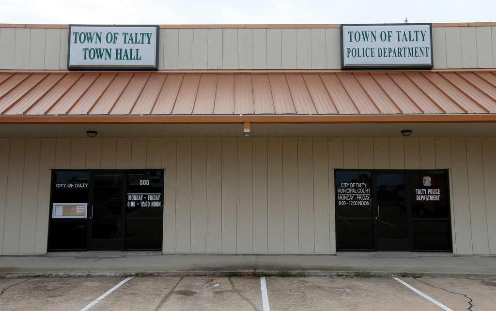 Talty's Town Hall and Police Department are within the 5,500 acres in Kaufman County identified for possible annexation into the city of Mesquite. The Talty facilities are just north of Interstate 20 while most of its residents are in rural settings south of the freeway.